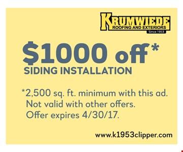 $1000 off sidng installation