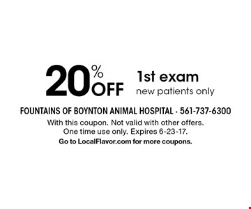 20% off 1st exam new patients only. With this coupon. Not valid with other offers. One time use only. Expires 6-23-17.Go to LocalFlavor.com for more coupons.