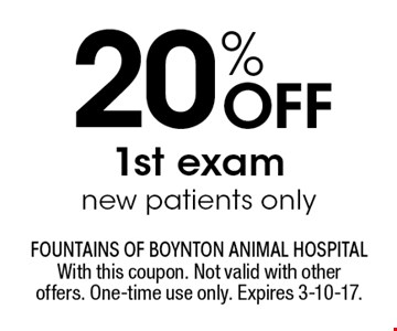 20% Off 1st exam new patients only. With this coupon. Not valid with other offers. One-time use only. Expires 3-10-17.