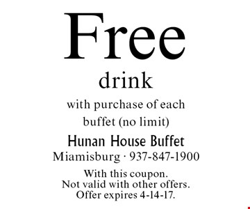 Free drink with purchase of each buffet (no limit). With this coupon. Not valid with other offers. Offer expires 4-14-17.
