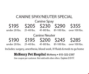 CANINE SPAY/NEUTER SPECIAL! $285 Canine Spay. Canine Neuter over 100 lbs. $355 Canine Spay. Canine Neuter over 100 lbs. $245 Canine Spay. Canine Neuter 81-100 lbs. $290 Canine Spay. Canine Neuter 81-100 lbs. $200 Canine Spay. Canine Neuter 41-80 lbs. $230 Canine Spay. Canine Neuter 41-80 lbs. $195 Canine Spay. Canine Neuter 21-40 lbs. $205 Canine Spay. Canine Neuter 21-40 lbs. $190 Canine Spay. Canine Neuter under 20 lbs. $195 Canine Spay. Canine Neuter under 20 lbs. Includes: surgery, anesthesia, blood work, IV fluids & meds to go home. One coupon per customer. Not valid with other offers. Expires 2/3/17.