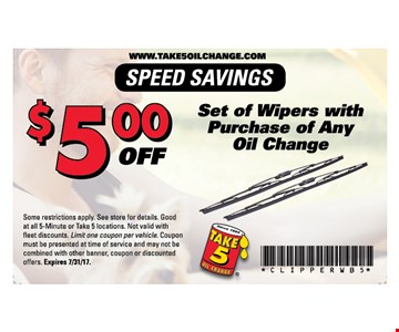 $5 off set of wipers