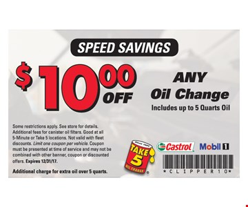 $10.00 Any Oil Change