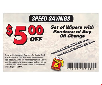 $5.00 Set of Wipers with Purchase of Any Oil Change