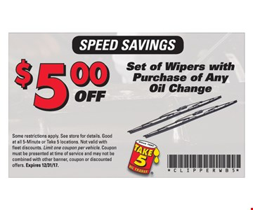 $5 Off Set of Wipers with puchase of any oil change