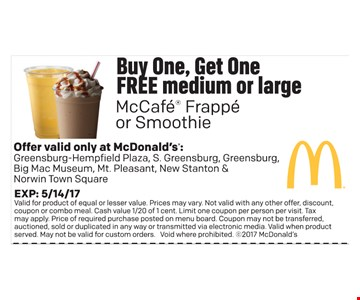 Buy one, get one free McCafe Frappe or Smoothie