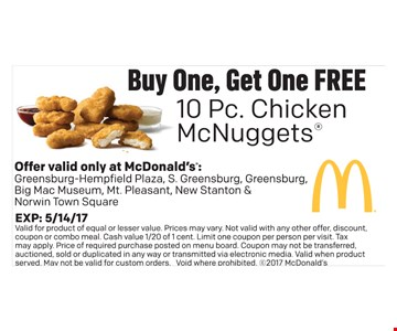 Buy one, get one free 10 pc. Mcnuggets
