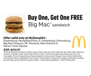 Buy one, get one free Big Mac