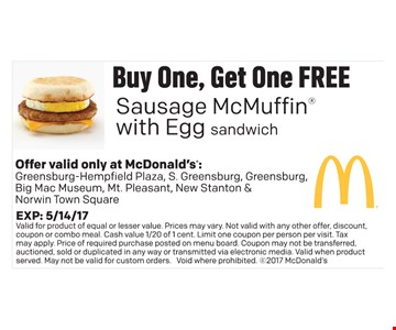 Buy one, get one free Sausage McMuffin
