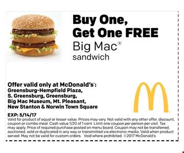 Buy One, Get One FREE Big Mac sandwich