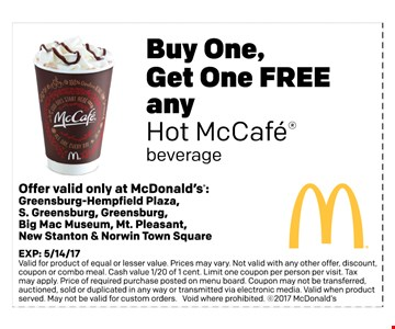 Buy One Get One FREE any hot McCafe beverage