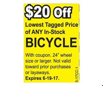$20 off lowest tagged price on ant in-stock bicycle