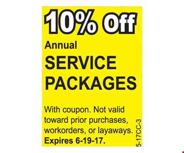 10% off annual service packages