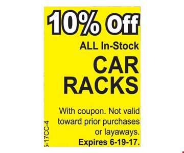 10% off all in-stock car racks