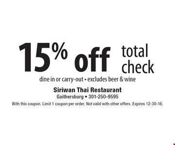 15% off total check. Dine in or carry-out. Excludes beer & wine. With this coupon. Limit 1 coupon per order. Not valid with other offers. Expires 12-30-16.