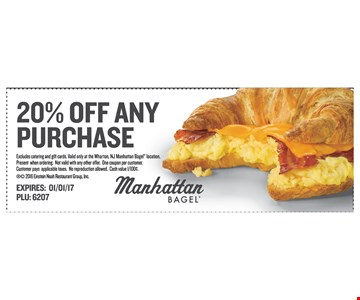 20% Off Any Purchase, excludes catering