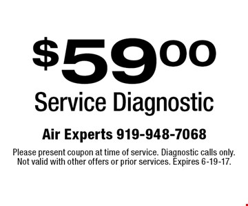 $59.00 Service Diagnostic. Please present coupon at time of service. Diagnostic calls only. Not valid with other offers or prior services. Expires 6-19-17.
