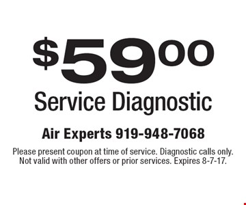 $59.00 Service Diagnostic. Please present coupon at time of service. Diagnostic calls only. Not valid with other offers or prior services. Expires 8-7-17.