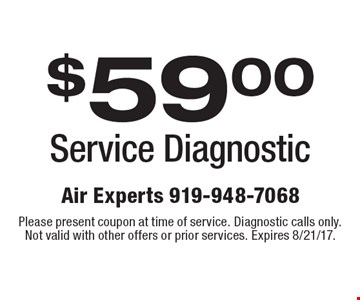 $59.00 Service Diagnostic. Please present coupon at time of service. Diagnostic calls only. Not valid with other offers or prior services. Expires 8/21/17.