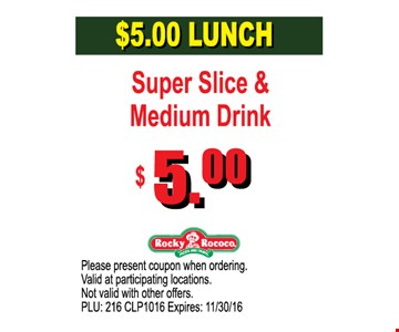 $5.00 Lunch