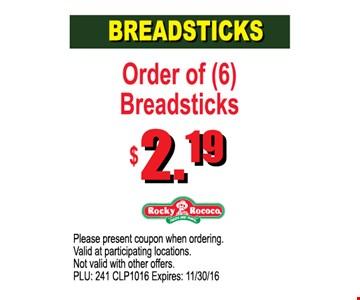 $2.19 Breadsticks