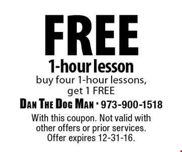 free 1-hour lesson buy four 1-hour lessons, get 1 FREE. With this coupon. Not valid with other offers or prior services. Offer expires 12-31-16.