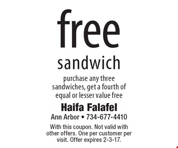Free sandwich purchase any three sandwiches, get a fourth of equal or lesser value free. With this coupon. Not valid with other offers. One per customer per visit. Offer expires 2-3-17.