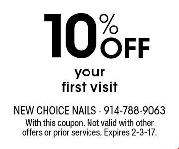 10% off your first visit. With this coupon. Not valid with other offers or prior services. Expires 2-3-17.