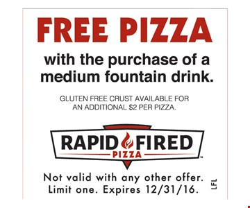 Free Pizza with the purchase of a medium fountain drink