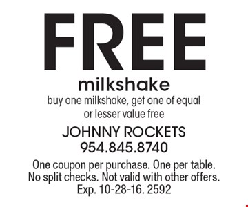 Free milkshake. Buy one milkshake, get one of equal or lesser value free. One coupon per purchase. One per table. No split checks. Not valid with other offers. Exp. 10-28-16. 2592