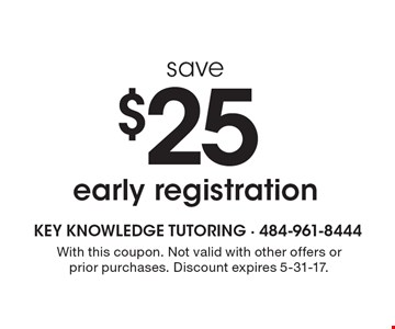 $25 save early registration. With this coupon. Not valid with other offers or prior purchases. Discount expires 5-31-17.