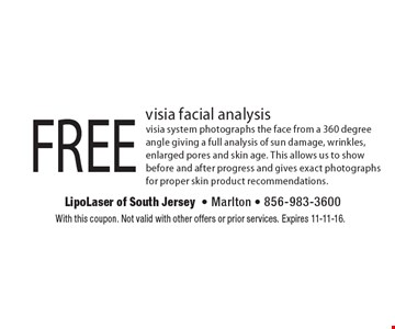 FREE visia facial analysis visia system photographs the face from a 360 degree angle giving a full analysis of sun damage, wrinkles, enlarged pores and skin age. This allows us to show before and after progress and gives exact photographs for proper skin product recommendations.. With this coupon. Not valid with other offers or prior services. Expires 11-11-16.