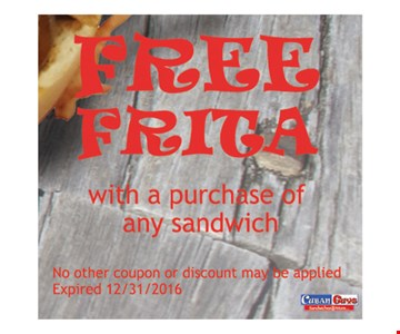 Free Frita with a purchase of a sandwich