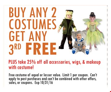 Buy any 2 costumes get any 3rd free