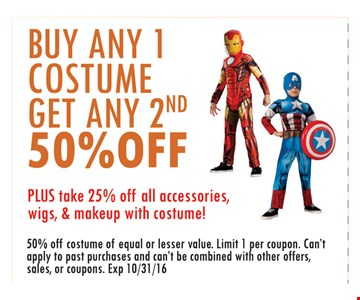 Buy any 1 costume get any 2nd 50% off