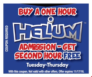 Buy a one hour admission get second hour free