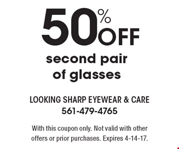 50% Off second pair of glasses. With this coupon only. Not valid with other offers or prior purchases. Expires 4-14-17.
