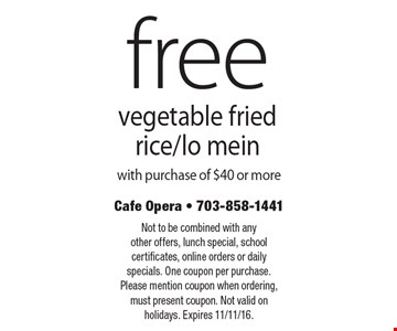 Free vegetable fried rice/lo mein with purchase of $40 or more. Not to be combined with any other offers, lunch special, school certificates, online orders or daily specials. One coupon per purchase. Please mention coupon when ordering, must present coupon. Not valid on holidays. Expires 11/11/16.