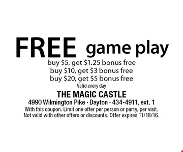 Fee game play. Buy $5, get $1.25 bonus free. Buy $10, get $3 bonus free. Buy $20, get $5 bonus free. Valid every day. With this coupon. Limit one offer per person or party, per visit. Not valid with other offers or discounts. Offer expires 11/18/16.