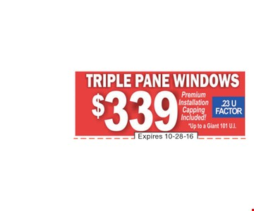 $339 Triple Pane Windows Installed