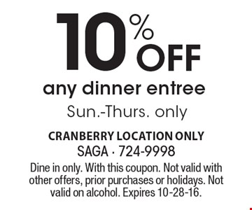 10% Off any dinner entree. Sun.-Thurs. only. Dine in only. With this coupon. Not valid with other offers, prior purchases or holidays. Not valid on alcohol. Expires 10-28-16.