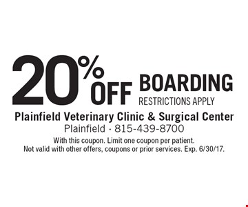 20% Off Boarding. Restrictions Apply. With this coupon. Limit one coupon per patient. Not valid with other offers, coupons or prior services. Exp. 6/30/17.