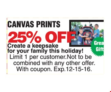 25% Off Canvas Prints.