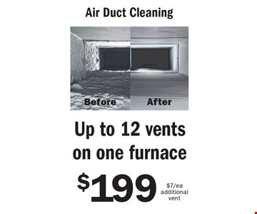 $199 Air Duct Cleaning Up to 12 vents on one furnace$7/ea additional vent. An area is defined as a room up to 300 square feet. Combination areas and areas over 300 square feet are considered as separate areas. Baths, staircases, landings, halls, walk-in closets and area rugs are priced separately. Valid for residential areas only. Prices may vary for specialty fabrics, loose back cushions, wool and oriental carpet and special services. Air duct pricing valid on single furnace homes only. Extra charge may apply for homes with multiple heating/cooling systems or homes with furnace or vents that are not easily accessible. Not responsible for existing broken tiles and or loose grout. Energy savings may vary depending on the size of your home and the condition of your heating/cooling system. Offer/service not available in all areas. Minimum order may apply. Other restrictions may apply. Call for details. Not valid with any other coupon or offer. Void where prohibited. Services supplied by Sears associates or franchisees. Sears cards are issued by Citibank (South Dakota) N.A. A temporary fuel charge may be added. Offers expire 10-28-16.