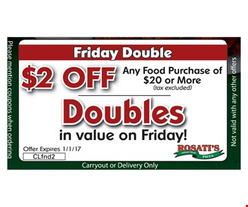 $2 Off Doubles in Value on Friday