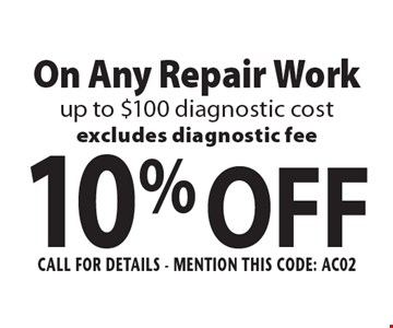 10% OFF On Any Repair Work up to $100 diagnostic cost. Excludes diagnostic fee. Call For Details - mention this code: AC02