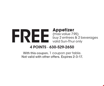 Free Appetizer (max value 7.95) buy 2 entrees & 2 beverages. Valid Sun-Thur only. With this coupon. 1 coupon per table. Not valid with other offers. Expires 2-3-17.