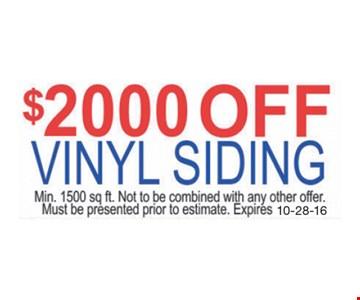 $2000 Off Vinyl Siding
