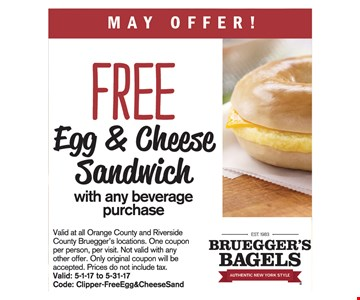 Free sandwich with purchase.