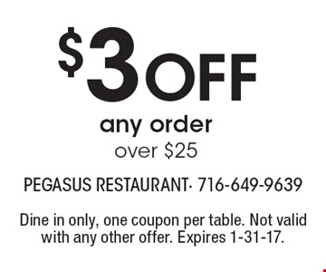 $3 Off any order over $25. Dine in only, one coupon per table. Not valid with any other offer. Expires 1-31-17.